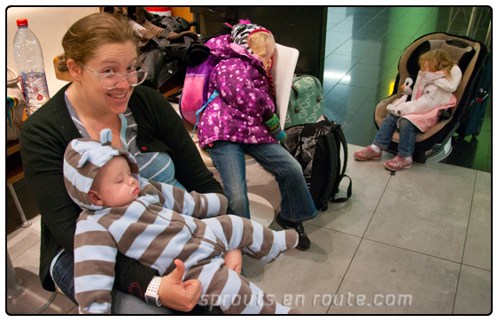 All three children alseep at 2300 (11pm) in the Mc Cafe in Vienna's International Airport.