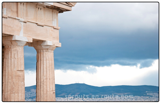 Dark ominous clouds hovering over Athens. We got some great shots, and didn't pay a thing to get in!