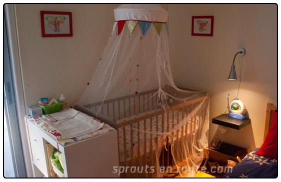 A photo of Timo's side of the room and his changing table. The one he is always trying to fall off of...