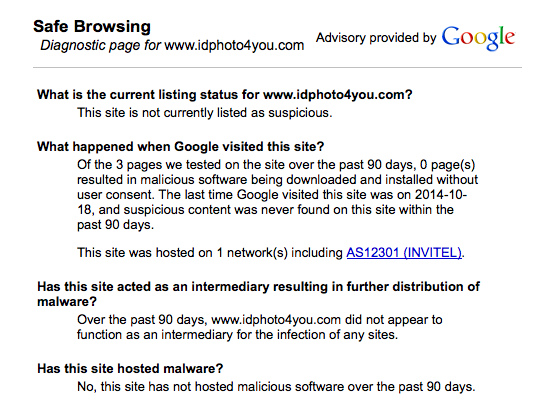 idphoto4you.com Google Safe Browsing